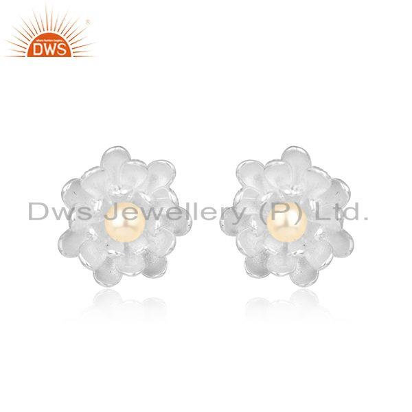 Flower Design Dainty Sterling Silver 925 Studs with Pearl