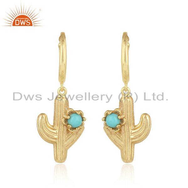 Designer Cactus Charm Arizona Turquoise Earcuff in Gold on Silver