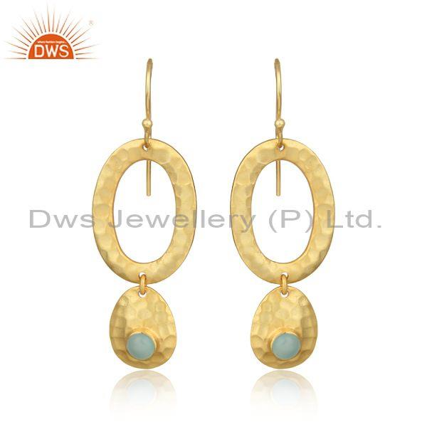 Hammer Textured Gold on Silver 925 Dangle with Aqua Chalcedony