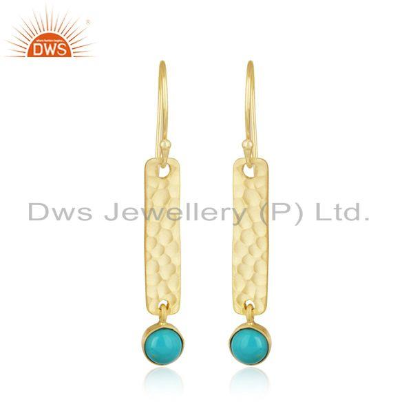 Hammered Long Bar Gold on Silver Dangle with Arizona Turquoise
