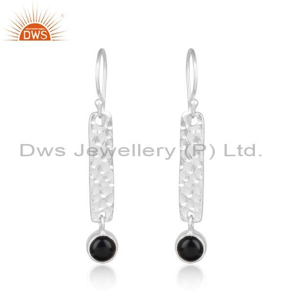 Hammer Textured Long Bar Silver 925 Dangle with Black Onyx