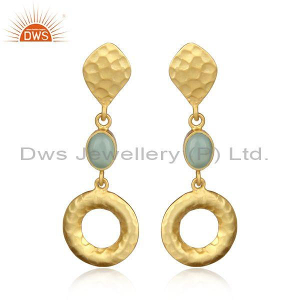 Hammered Design Gold on Silver Long Dangle with Aqua Chalcedony