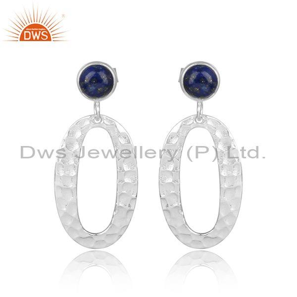 Lapis Set Fine Sterling Silver Oval Hoop Statement Earrings