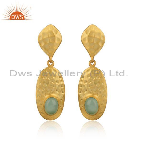 Handmade Design Hammered Gold on Silver Aqua Chalcedony Dangle