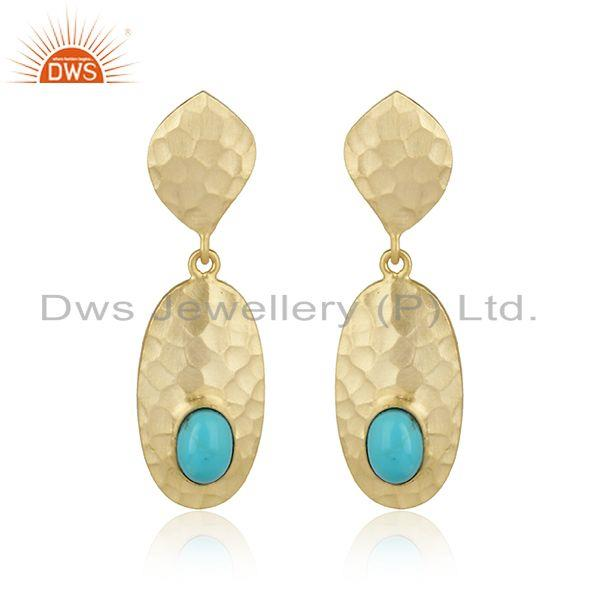 Handmade Design Hammered Gold on Silver Arizona Turquoise Dangle