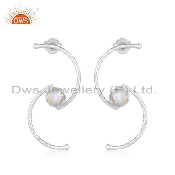 Hand Textured Dainty Spiral Silver 925 Rainbow Moonstone Earring