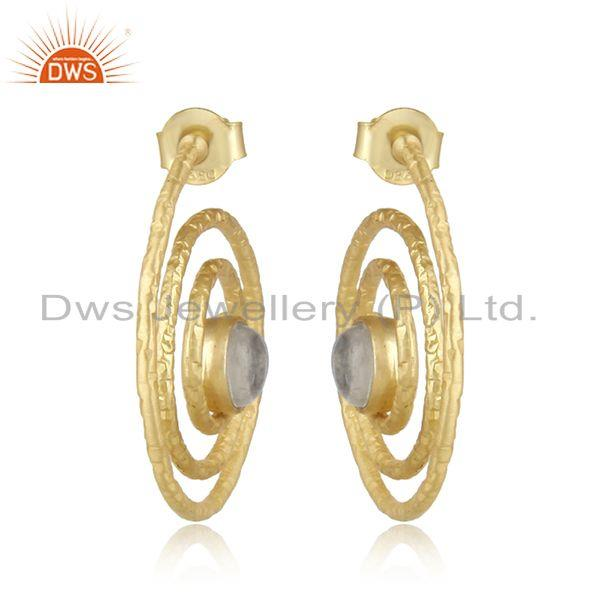 Handmade Spiral Gold on Silver 925 Earring with Rainbow Moonstone
