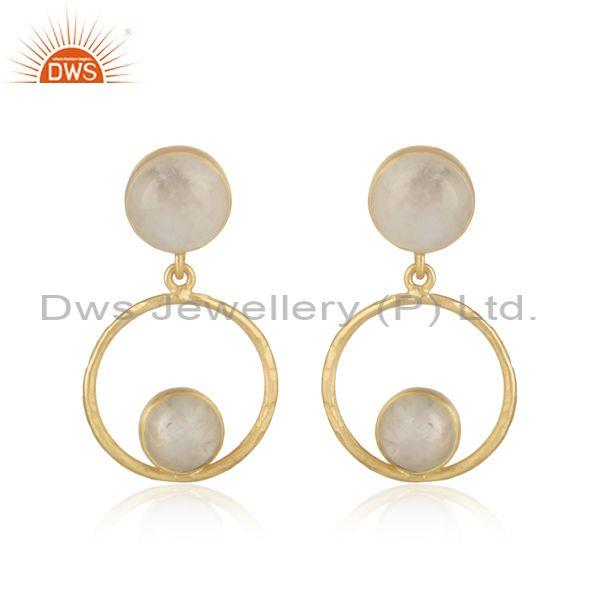Exquisite Rainbow Moonstone 925 Silver Gold Plated Earrings