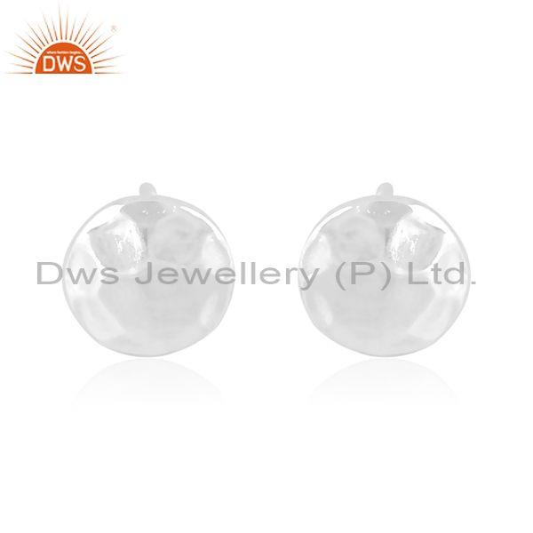 Handmade and handhammered round fine 925 silver earrings