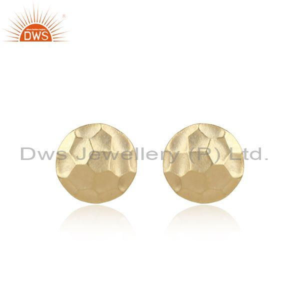 Handcrafted Hammer Textured Dainty Yellow Gold on Silver Studs