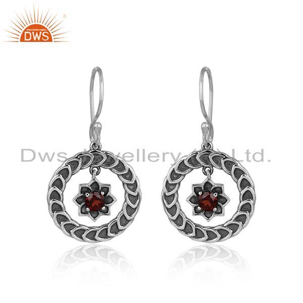 Handcrafted Floral Design Oxidized Silver 925 Dangle with Garnet