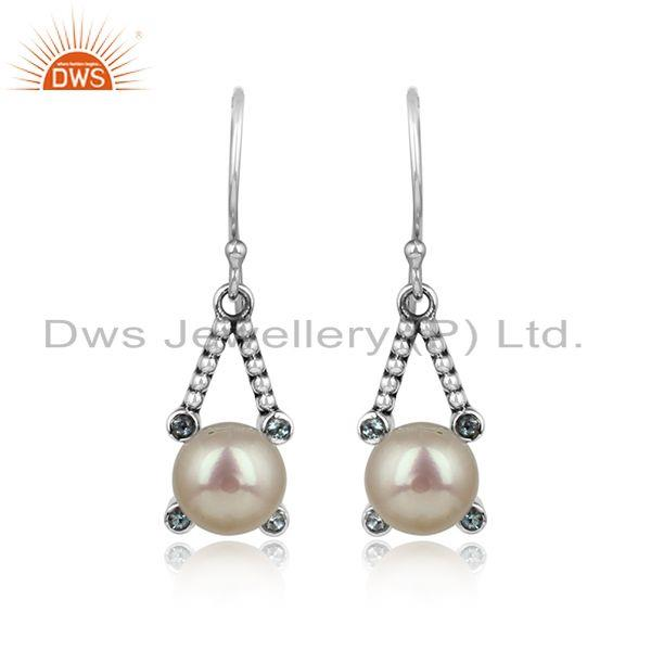 Twisted Designer Pearl Dangle on Oxidized Silver with Blue Topaz