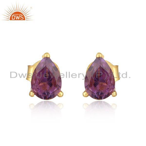 Designer Dainty Yellow Gold on Silver 925 Studs with Amethyst