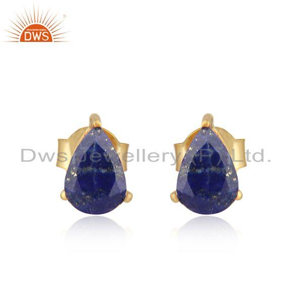 Designer Dainty Yellow Gold on Silver 925 Studs with Lapis