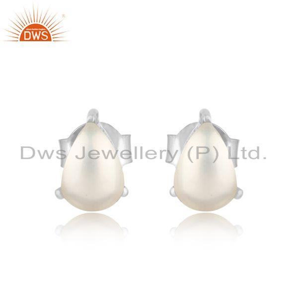 Designer Dainty Sterling Silver 925 Studs with Pearl