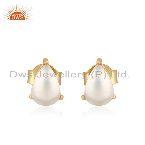 Designer Dainty Yellow Gold on Silver 925 Studs with Pearl