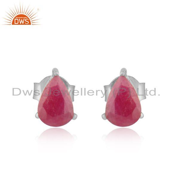 Designer Dainty Sterling Silver 925 Studs with Ruby