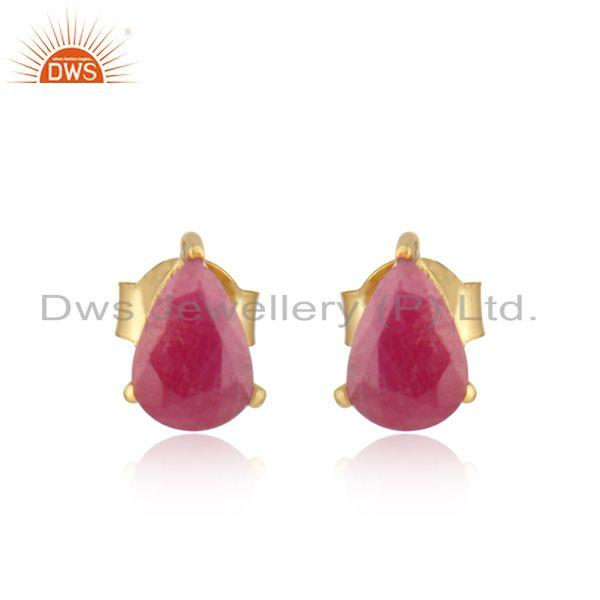 Designer Dainty Yellow Gold on Silver 925 Studs with Natural Ruby