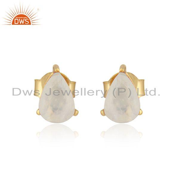 Designer Dainty Yellow Gold on Silver Studs with Rainbow Moonstone