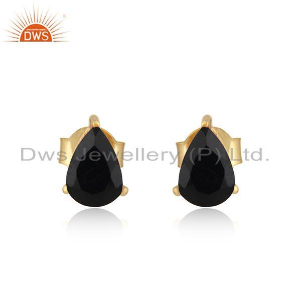 Designer Dainty Yellow Gold on Silver 925 Studs with Black Onyx