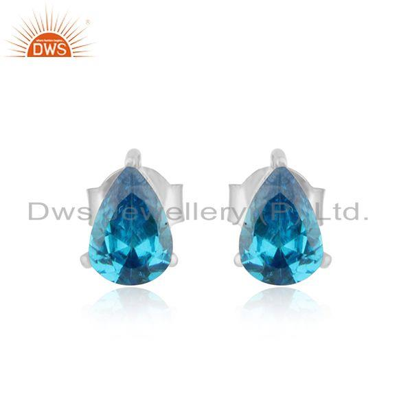 Designer dainty sterling silver 925 studs with natural blue topaz