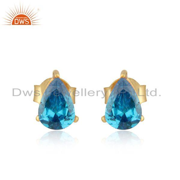 Designer Dainty Yellow Gold on Silver Studs with Zircon Blue Topaz