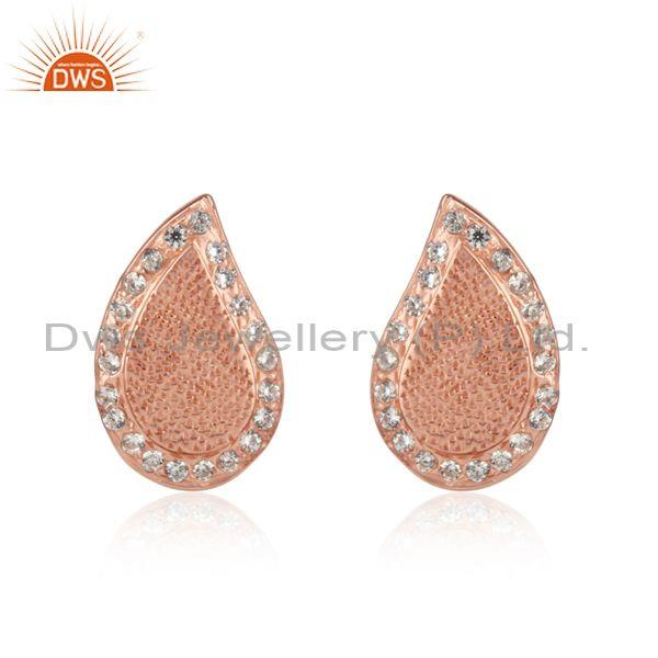 Textured Traditional Design Rose Gold on Silver Cz Studs