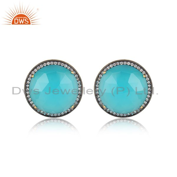 Exquisite Yellow Gold on Silver Studs with Aqua Chalccedony Cz