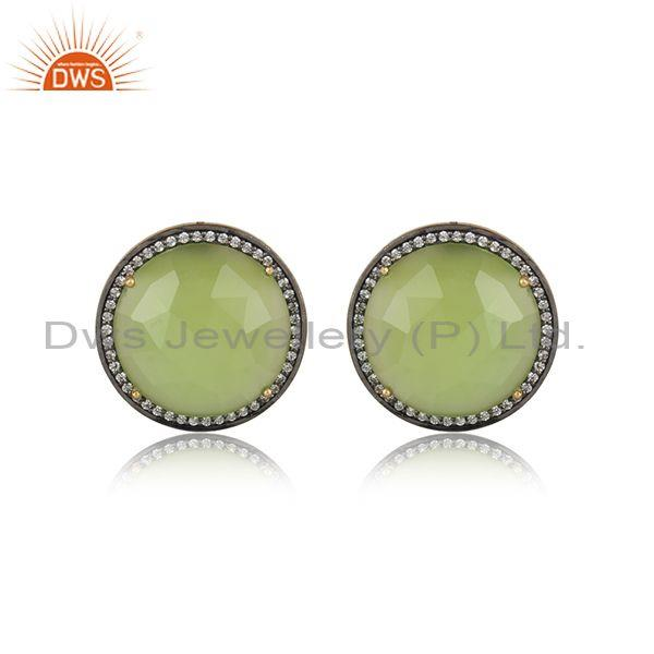 Exquisite Yellow Gold on Silver Studs with Prehnite Chalccedony Cz