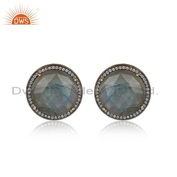 Exquisite Yellow Gold on Silver Studs with Labradorite, Cz