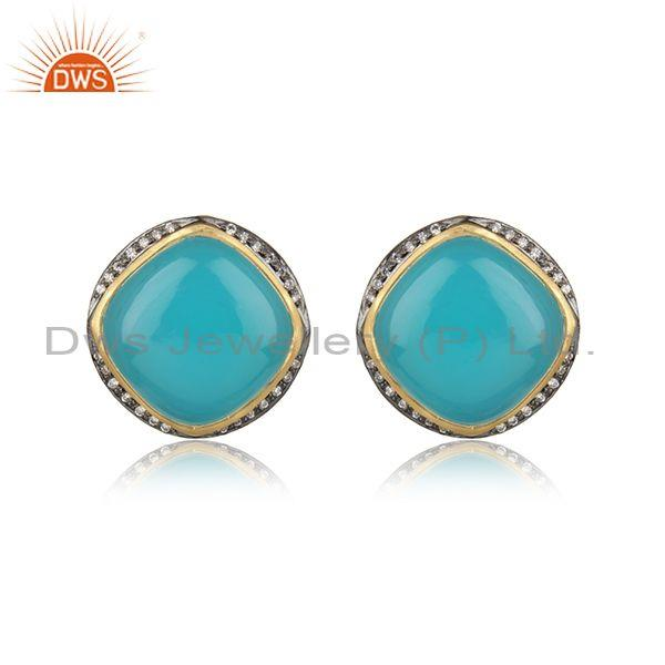 Designer Trendy Yellow Gold on Silver Studs with Aqua Chalcedony