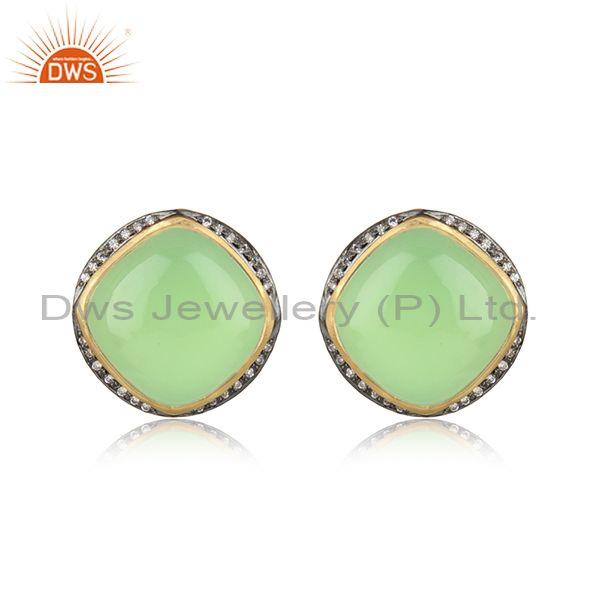 Designer Trendy Yellow Gold on Silver Studs with Prehnite Chalcedony