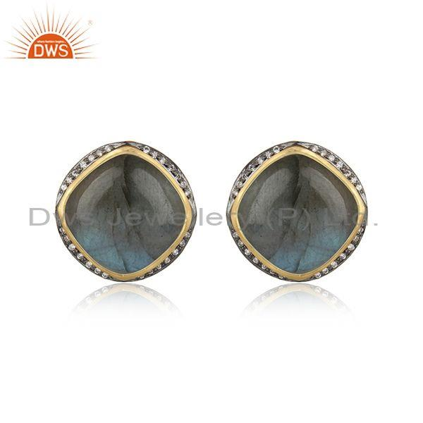 Designer Trendy Yellow Gold on Silver Studs with Labradorite, Cz