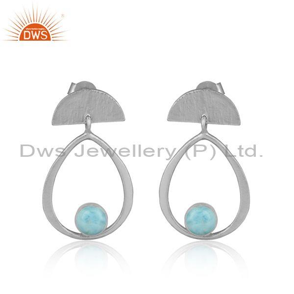 Designer Half Moon Sterling Silver Earring with Larimar