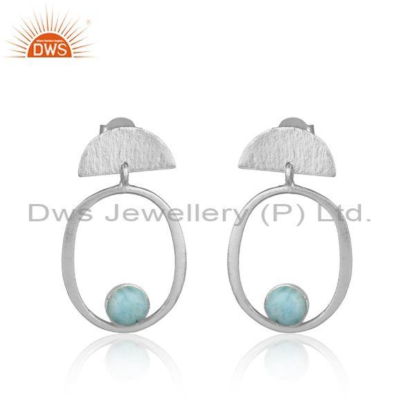 Handmade Half Moon Sterling Silver Earring with Larimar