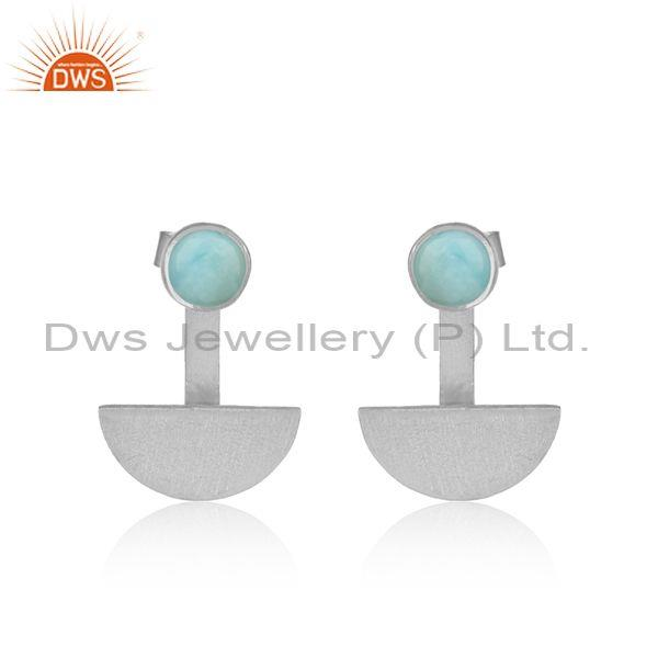 Half Moon Designer Sterling Silver Earring with Larimar