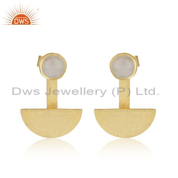 Half Moon Designer Gold on Silver Rainbow Moonstone Earring