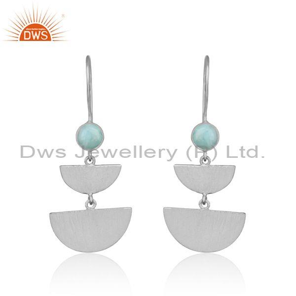 Handcrafted Half Moon Design Silver Larimar Dangle Earring