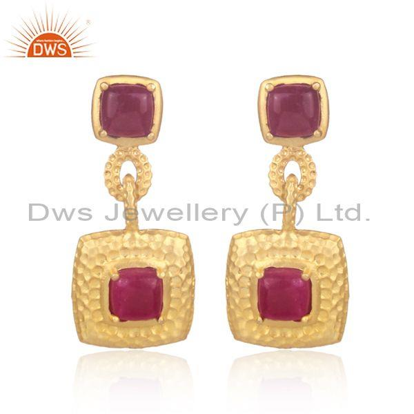 Dyed ruby set brass gold designer square shape drop earrings