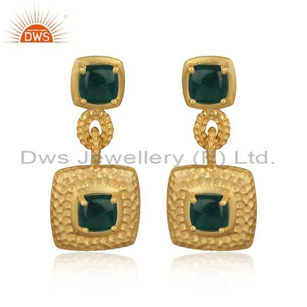 Textured Chunky Gold on Silver 925 Dangle with Dyed Emerald