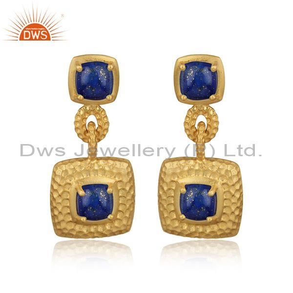 Textured Chunky Gold on Silver 925 Dangle with Lapis