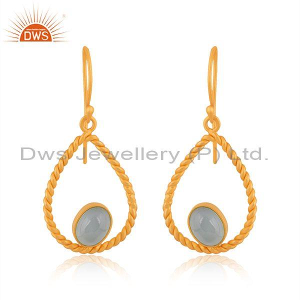 Twisted Rope Design Gold Over Silver Aqua Chalcedony Earring