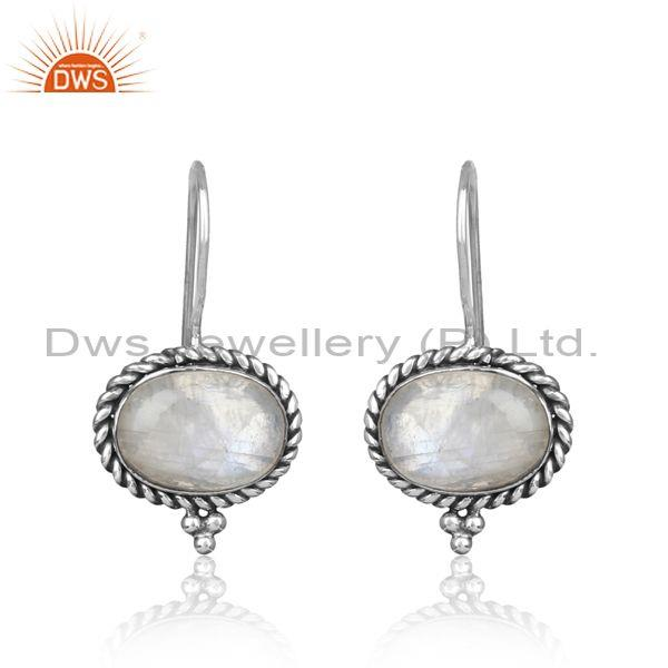 Twisted Rope Oxidized Silver 925 Rainbow Moonstone Earring