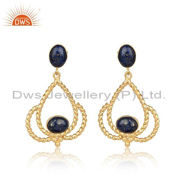 Designer twisted rope yellow gold on silver 925 lapis earring