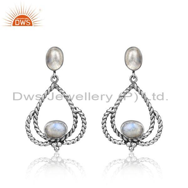 Designer Oxidized Silver Twisted Rope Rainbow Moonstone Earring