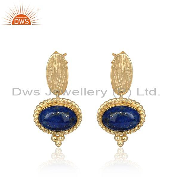 Handmade Textured Gold on Silver 925 Rope Design Lapis Earring