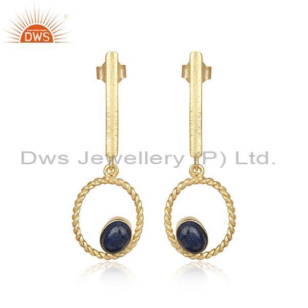 Textured twisted design gold on silver 925 lapis long dangle