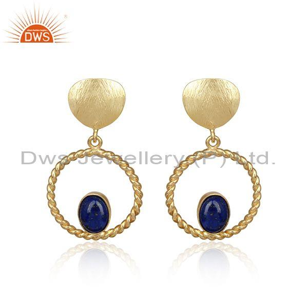 Handcrafted twisted designer gold on silver 925 lapis dangle