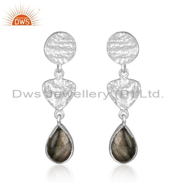 Textured Handcrafted 3 station Silver Labradorite Long Dangle