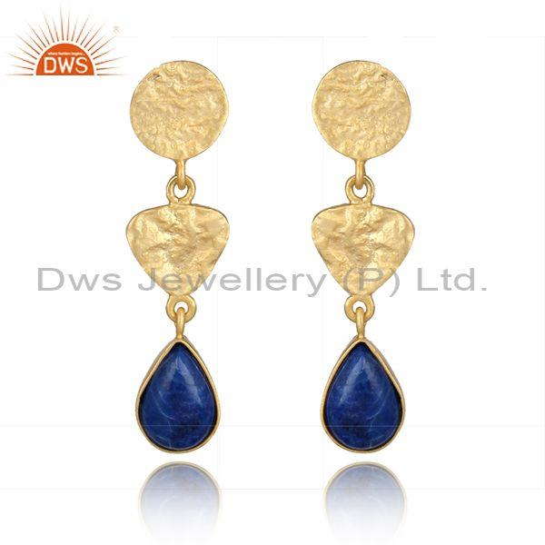 Textured Handcrafted 3 station Gold on Silver Lapis Long Dangle
